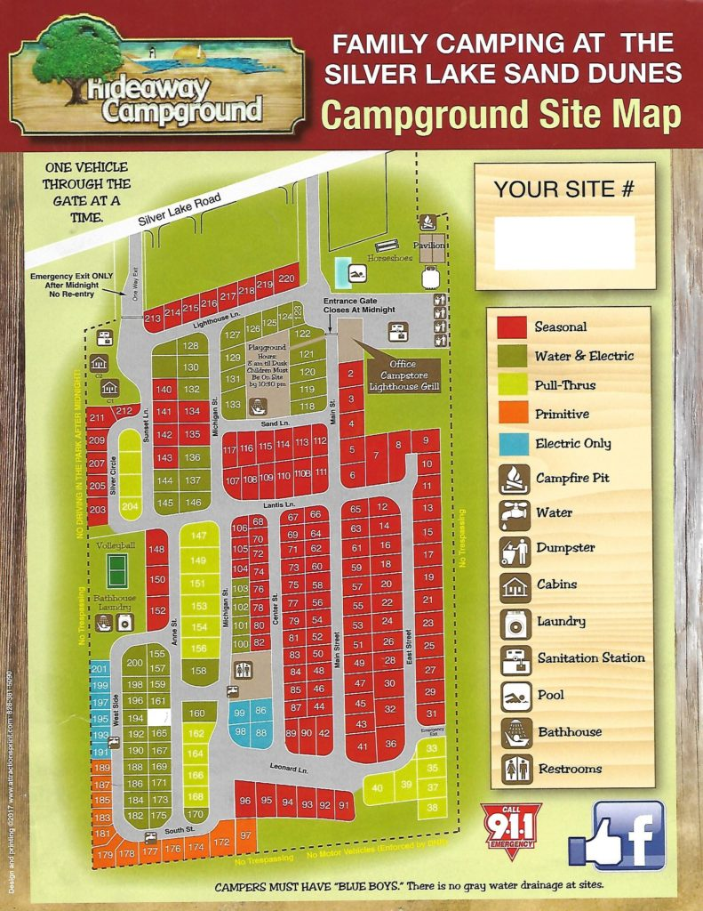 Hideaway Campground Park Map